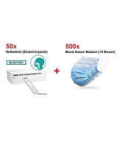 50x COVID-19 Antigen Selbsttest (Einzeltest) + 500 Mund Nasen Masken